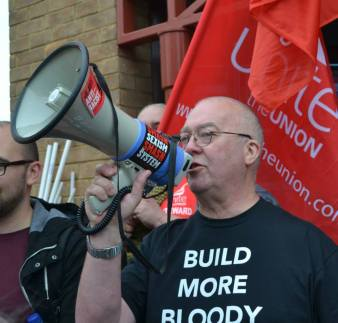 Cllr Kevin Price head of Housing, Cambridge City Council addresses the demo.